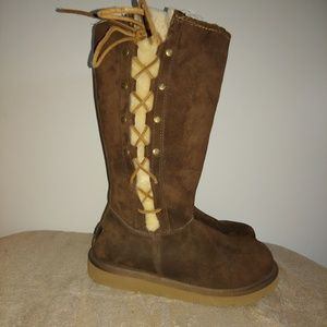 UGGS,  Fur Lined, Side Tie Chocolate Suede Boot 9